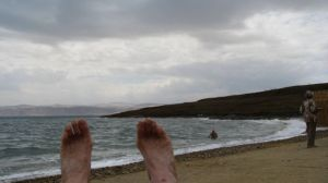 Feet at the Dead Sea (and yes, they had been in)